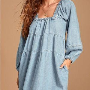 Blue Jean Babydoll Light Wash Denim Dress